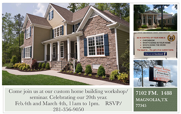 Come join us for a home building informational seminar/workshop!