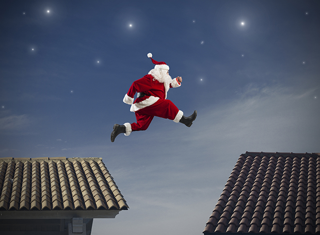 Santa Jumping from Rooftop to Rooftop