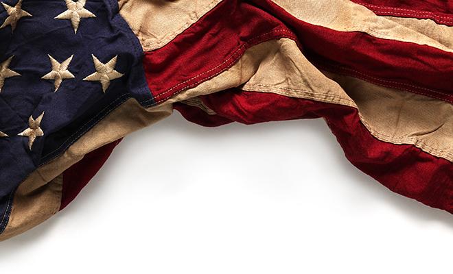 Draped American Flag