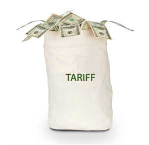 A large sack of money with the word 'TARIFF' printed on it.