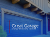'Great Garage Conversion Ideas' Text on Garage Door